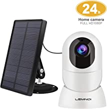 Lemnoi Wireless Rechargeable Battery Security Camera + Solar Panel, 1080p HD Outdoor/Indoor Solar Powered Camera | Night Vision| IP65 Weatherproof|2-Way Audio |PIR Motion Detection| Free Cloud Record