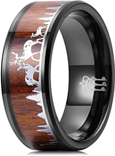 Thorsten Deer Track Animal Track Deer Hoof Print Flat Black Tungsten Ring 10mm Wide Wedding Band from Roy Rose Jewelry