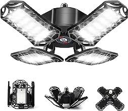 LED Garage Light,120W Ultra Bright Garage LED Ceiling Light, 12000LM - 6500K E26/E27 Deformable Garage Light Bulb with Adj...