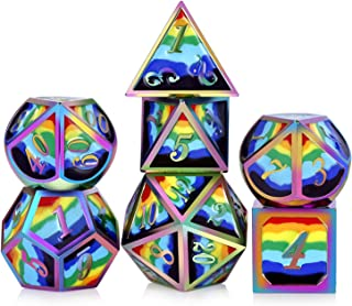Rainbow Metal Dice Set,DNDND Solid 7 Die with Free Metal Tin for DND Dungeons and Dragons D&D Roleplaying Table Games (Rainbow Number with Rainbow Colors)
