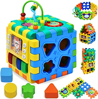 Activity Cube | 6 in 1 Multipurpose Play Center Kids Toddlers Shape Color Sorter Beads Maze Time Learning Clock Skill Improvement Educational Game Toys Busy Learner Cube (Interlocking Activity cube)