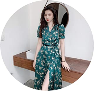 83fb4970 four- Retro Floral Dresses Short Sleeve V-Neck Lace Up Dresses Summer  Single Breasted