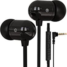 Betron B750s Earphones Headphones, High Definition, in-ear, Tangle Free, Noise Isolating , HEAVY DEEP BASS for iPhone, iPod, iPad, MP3 Players, Samsung Galaxy etc (Black with Volume Control and Mic)