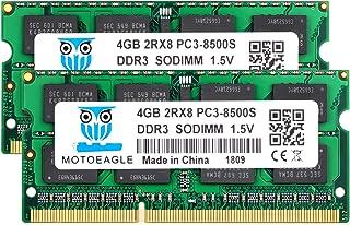 Motoeagle 8GB Kit (2X4GB) 2RX8 PC3-8500 PC3-8500S DDR3 1066MHz SODIMM CL7 204 Pin 1.5V Non-ECC Unbuffered Notebook Memory ...