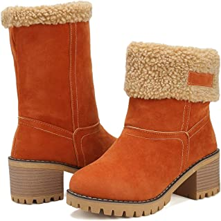 Women Cute Warm Short Boots Suede Chunky Mid Heel Round Toe Winter Snow Ankle Booties