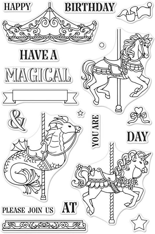 Hero Arts CM296 Clear Stamp Set, Ornate Carousel, 4