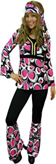 Yummy Bee Womens Hippy Costume 60s 70s Flower Power Plus Size 2-14