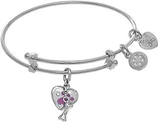 Paw Print and Bone Charms Adjustable Bangle Girls Bracelet