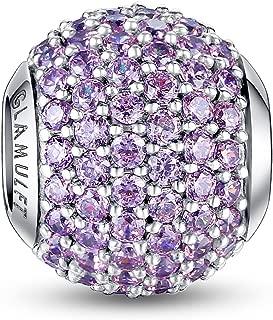 Lucky Birthstone Paved Gemstone Charms Beads 925 Sterling Silver Fits Pandora Bracelet