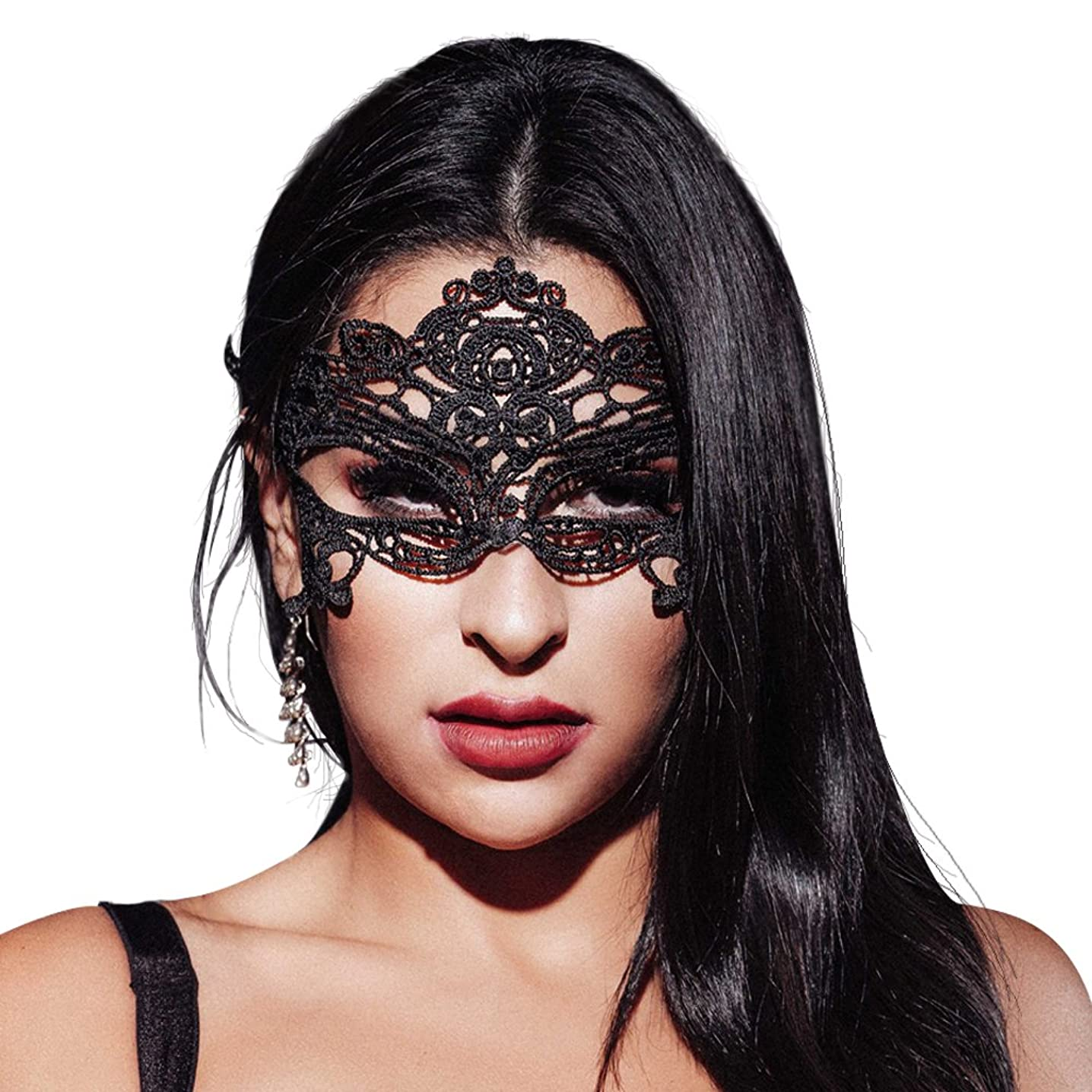 AIYUE Womens Lace Mask Black Lace Eye Mask Sexy Masquerade Party Mask Pack of 2 Mask Masquerade Couple