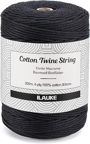 3mmx300m Corde en macramé,Naturelle Corde de Coton Tresse,Décorations Murales,Ficelle Corde Macramé,Fil Macramé,pour ...