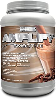 NDS Nutrition Amplify Protein Smoothie with Added Greens for Overall Health - Whey Protein and Naturally Occurring Amino Acids - Build Lean Muscle, More Strength, Lose Fat - Chocolate - 30 Servings