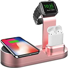 Deszon Wireless Charger Designed for Apple Watch Stand Compatible with Apple Watch Series 5 4 3 2 1, AirPods Pro Airpods and iPhone 11 11 pro 11 Pro Max Xs X Max XR X 8 8Plus (No Adapter) Rose Gold