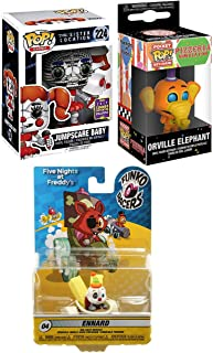 Racer Series SDCC Five Nights at Freddy's Character Pack Vinyl Pop! Bundled with + Sister Location Jumpscare Baby Exclusive & Orville Elephant Pizzaria Pop Keychain + Ennard Car Collectible 3 Item