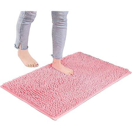 Mapa De Baño Suave De Microfibra, Tapete De Baño Antideslizante De Látex De Látex, Super Absorbente, Alfombra De Ducha Duradera De Secado Rápido(Size:70×140cm,Color:Pink)