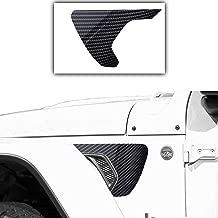 Bogar Tech Designs - Precut Side Fender Vent Solid Vinyl Decal Compatible with Jeep Wrangler JL 2018, 6D Glossy Carbon Fiber Black