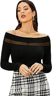 ROMWE Women's Slim Cross Wrap Asymmetrical Neck Solid Ribbed Knit Tee Shirt Blouse