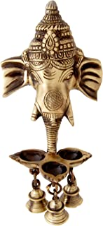 Two Moustaches Brass Antique Ganesha Wall Hanging Deepak/Diya with Bells for Home Decor (Brown)