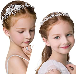 2 Pieces Different Kinds of Wedding Headpiece, White Flower Pearl Headband and Faux Pearl Hair Decorations for Bride and Flower Girls