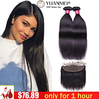 Straight Human Hair 2 Bundles With Frontal 18 20 and 16 Inches Natural Color Human Hair Bundles With Frontal Closure 13X4 Inches Lace Frontal 18 20 and 16 Inches