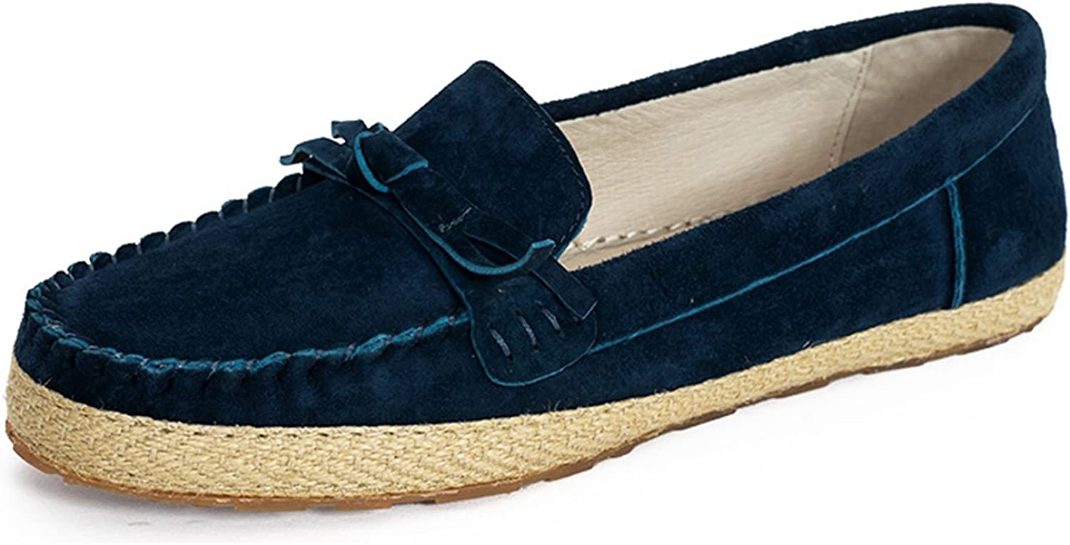 Miyoopark Women's Round Toe Suede Casual Spring Dress Flats