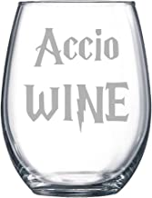 Accio Wine Etched Stemless Wine glass, Pint Glass, Stemmed wine Glass, Rocks glass, Pilsner or Nonic Pint glass