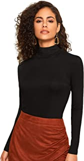 Women's Long Sleeve Stand Collar Slim Fit Pullover Tee Top T-Shirt T-Shirt