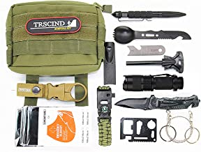 TRSCIND Survival Gear Kit 11 in 1 Molle Pouch EDC Survival Bag, SOS Emergency Tool for Camping, Hiking,Trekking Wild Adventure Earthquake, for Him Husband Men Dad Boyfriend