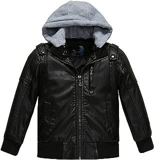Boys Faux Leather Motorcycle Moto Biker Jackets Zipper Coats