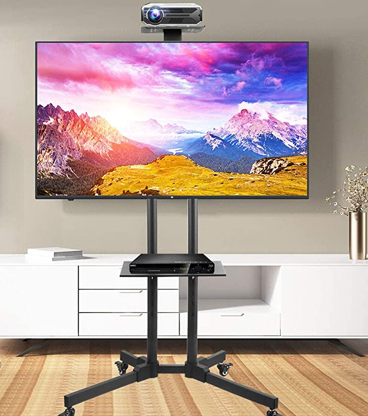 どういたしまして推測寛大なポータブルCARTフロアテレビスタンド - ラックでディスプレイモバイルカート - マックスVESA 600x400mm - ロールオーバー超32から70「LCDとLEDテレビHDRをスクリーニングするために