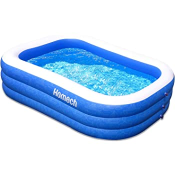"Homech Family Inflatable Swimming Pool, 120"" X 72"" X 22"" Full-Sized Inflatable Lounge Pool for Baby, Kiddie, Kids, Adult, Infant, Toddlers for Ages 3+,Outdoor, Garden, Backyard, Summer Water Party"