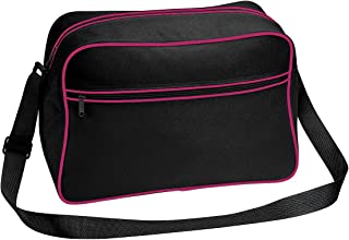 Bagbase Retro Adjustable Shoulder Bag (18 Litres) (UK Size: One Size) (Black/Fuchsia)