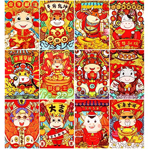 72 Pieces Chinese New Year Red Envelopes The Ox Hongbao Chinese Ox Year Envelope Lucky Hong Bao Cartoon Lucky Money Present Envelope 2021 Chinese Red Envelope Spring Festival Pocket Money for New Year