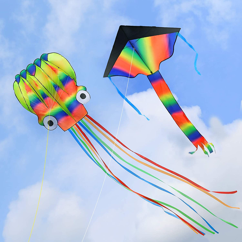 Long-awaited MOLIK Kites 2 Packs 5M Large Free Shipping New Octopus Kite Delta wit Rainbow