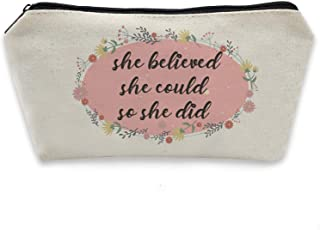 HomeLove Inc. She Believed She Could So She Did Inspirational Quote Pencil Case Gift for Kids Girls Daughter Sister Friends