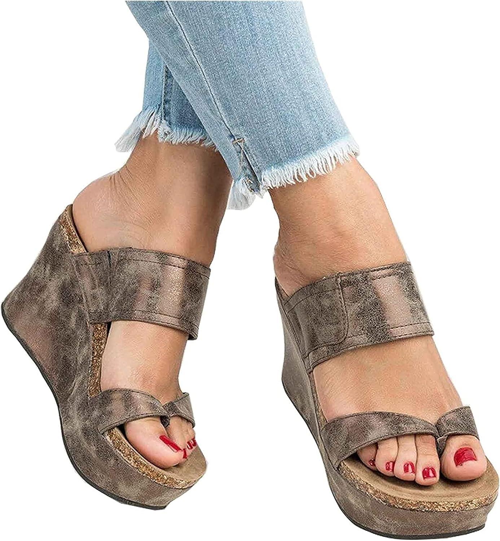 Platform Wedge Sandals for Women Ladies Sandals Wedge Heel Open Toe Flip Flops Summer Causal Daily Wear Beach Slippers Slides Indoor Outdoor (Color : Brown, Size : 41)