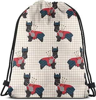 best gift Scottie Dog with Bagpipes - Cute Scottish Terrier Design Tartan - Sand_27221 Custom Drawstring Shoulder Bags Gym Bag Travel Backpack Lightweight Gym for Man Women 16.9