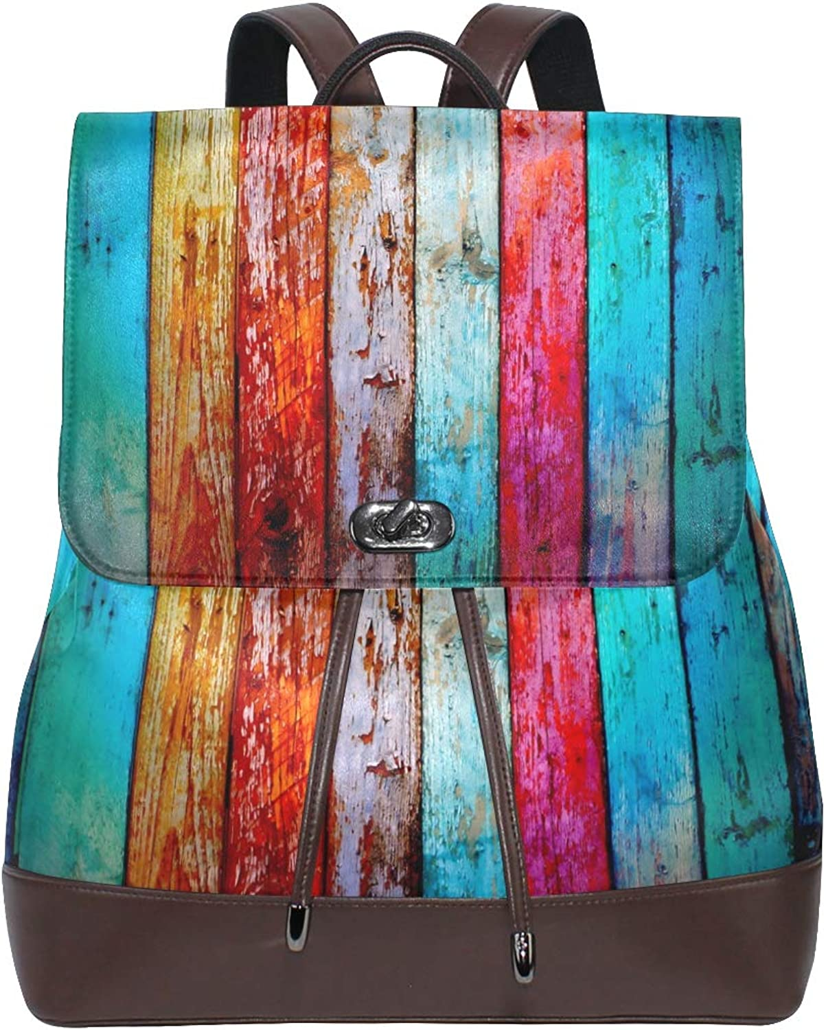 FAJRO colorful Rainbow Grungy Bord Pattern Travel Backpack Leather Handbag School Pack