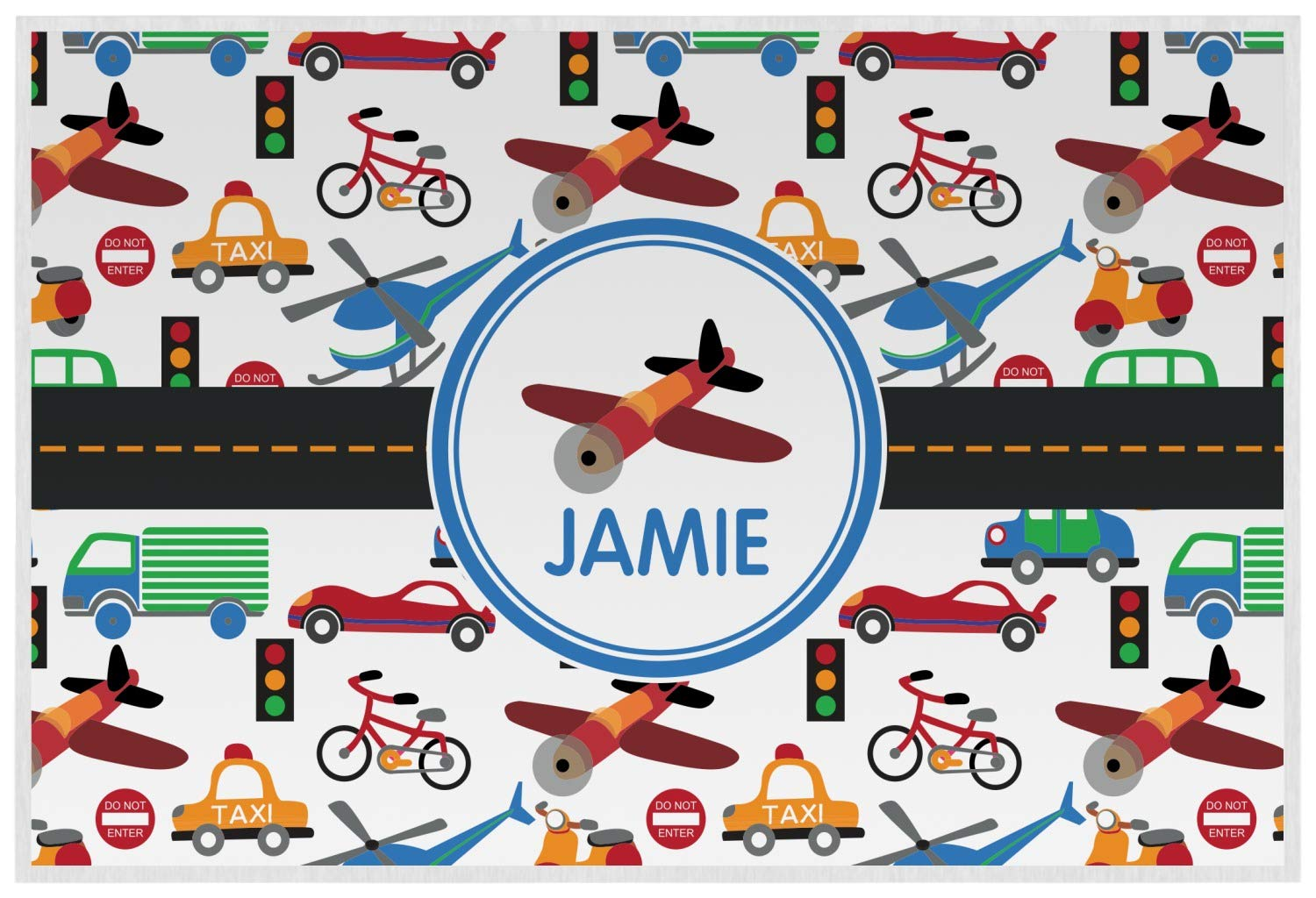 Translated Transportation Laminated Placemat w Text Low price or Name