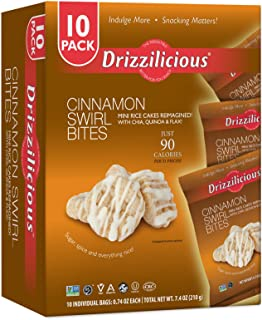 Drizzilicious Cinnamon Swirl 10 Pack | Mini Gluten Free Snacks | Vegan Air Popped Chia, Quinoa, Flax Rice Cakes