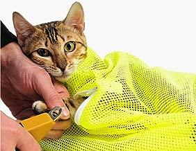TECH-P Creative Life Adjustable Multifunctional Polyester Cat Washing Shower Mesh Bags Pet Nail Trimming Bags-Yellow
