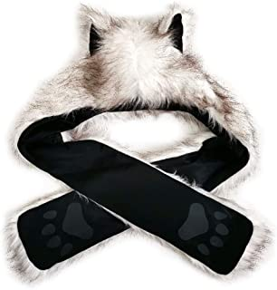 FHQHTH Wolf Hats with Paws Plush Faux Fur Animal Paws Hat Hoods Gloves with Fleece Lined Bomber Hats 3 in 1 Winter Caps