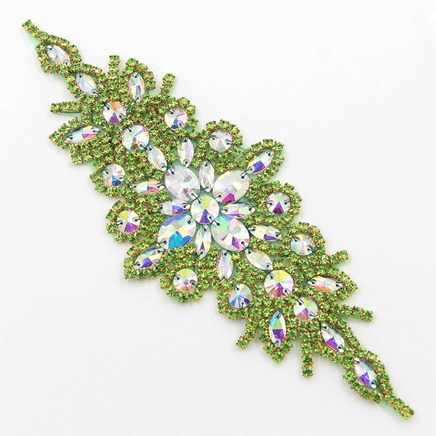 1 Pc Gleaming Wedding Applique Crystal Rhinestone Trim Ribbon Sash /Bridal Applique