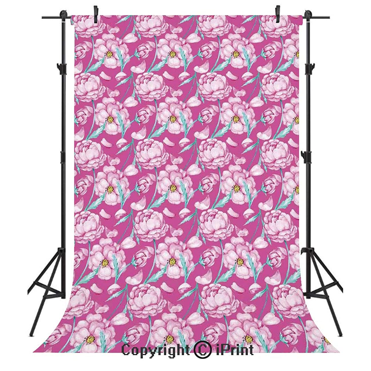 Magenta Decor Photography Backdrops,Peony Flowers Blossom in Vibrant Color Watercolor Japanese Feminine Bouquet Art,Birthday Party Seamless Photo Studio Booth Background Banner 6x9ft,Hot Pink