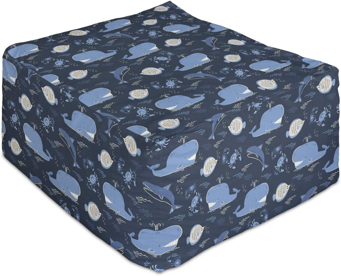 Max 57% OFF Ambesonne Whales Rectangle Pouf Repetitive Crabs Waves Kansas City Mall Flock of