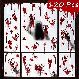 Décorations Fenêtre Halloween, 120 PCS Empreinte Sanglante D'empreinte AutocollantFenetre Halloween, autocollants de fenê...