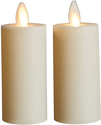 "Mystique Flameless Candle, Ivory 3"" Votives, Set of 2, Plastic Candle With Realistic Flickering Wick, Battery Operated, By Boston Warehouse"