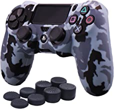 YoRHa Water Transfer Printing Camouflage Silicone Cover Skin Case for Sony PS4/slim/Pro controller x 1(snow) With Pro thumb grips x 8