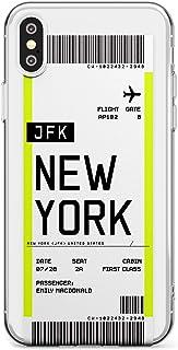 Boarding Pass Personalizada De Entradas: Nueva York Estuche delgado para iPhone XR | Claro Silicona TPU Protector Ligero Ultra Thin Cubrir Modelo Impreso | Personalizado Viajero Pasión De Viajar Avión
