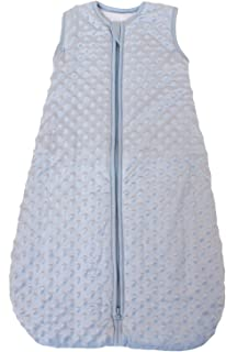 Baby Sleeping Bag Minky Dot Blue, Quilted Winter Model, 2.5 Tog (Large (22 mos - 3T))
